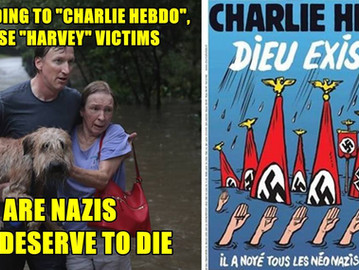 Charlie Hebdo mocks Harvey storm victims and portrays them as Nazis.