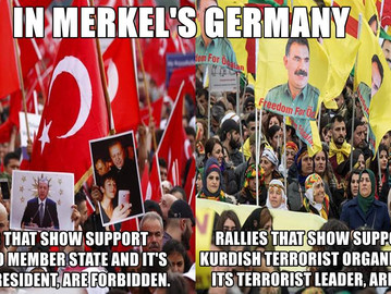 Germany allows pro Kurdish terrorist march after forbidding Turkish rallies.
