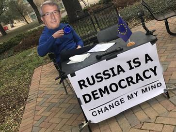 The head of the EU congratulates Putin on his democratic 're-election'.