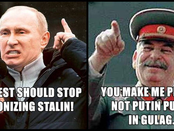 Putin defends Stalin, says the west is 'demonizing' him.