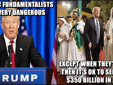 Trump signs a YUGE $350 billion arms deal with Saudi Arabia.