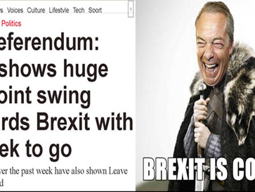 Latest UK poll shows huge 10-point swing towards Brexit with a week to go.