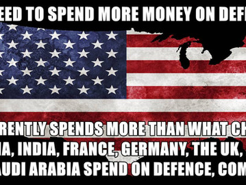 The US defence spending are more than what the next eight most powerful countries in the world spend