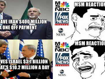 Media outraged over a one off $400 million US payment to Iran, while ignoring $3.1 billion US annual