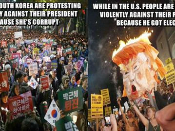 South Koreans, unlike some Americans, have actual and real reasons to protest against their presiden