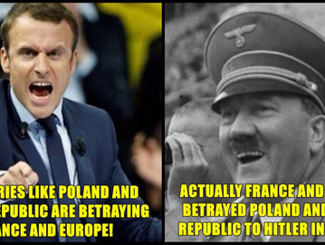 "Macron blames Poland, Czech Republic and Eastern Europe countries of ""betraying"" Europe."