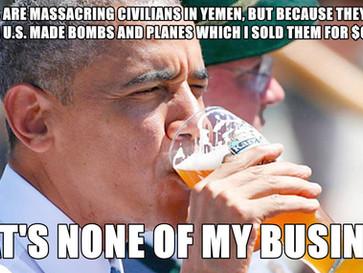 Nobel peace prize arms dealer Obama sells weapons and backs Saudi Arabia as it murders civilians in