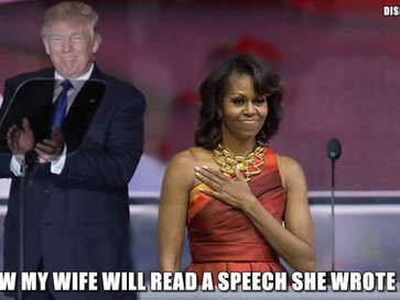 Trump's wife speech about Donald plagiarises parts of Michelle Obama's speech about Barack.