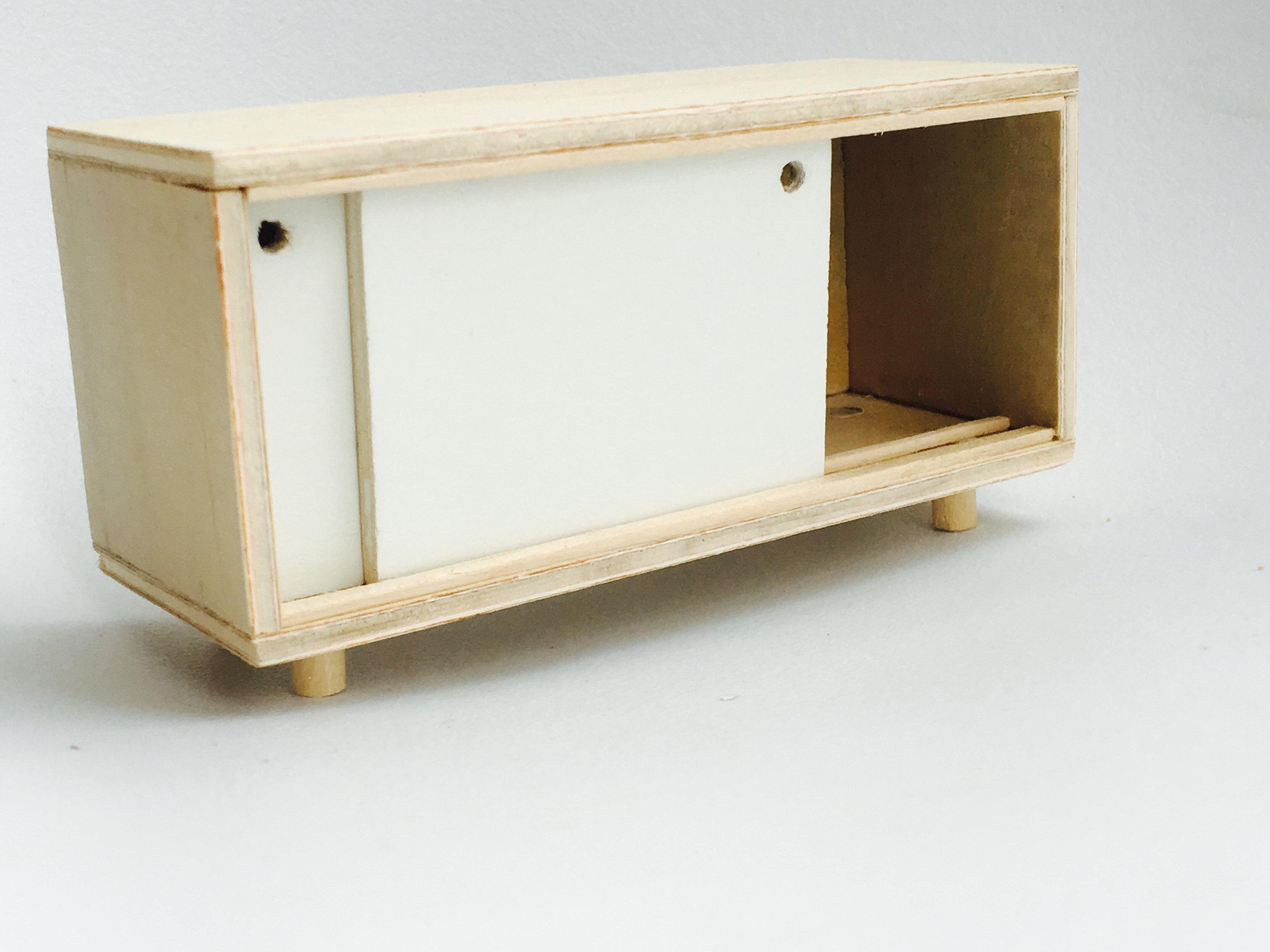 Mostly miniature modern dolls house furniture australia miniature buffet sideboard with sliding door vtopaller Gallery