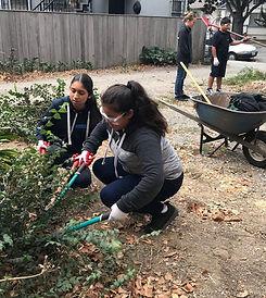 Key Club volunteers learn gardening skills for school credit