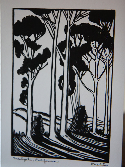 Eucalyptus - Linoleum block card by Emelita Cohen