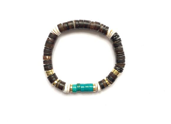 "Bracelet ""SOL"" brun & turquoise"