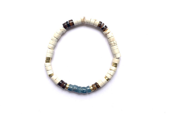 """Bracelet """"SOL"""" blanc & bleu"""