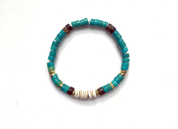 "Bracelet ""SOL"" turquoise & blanc"