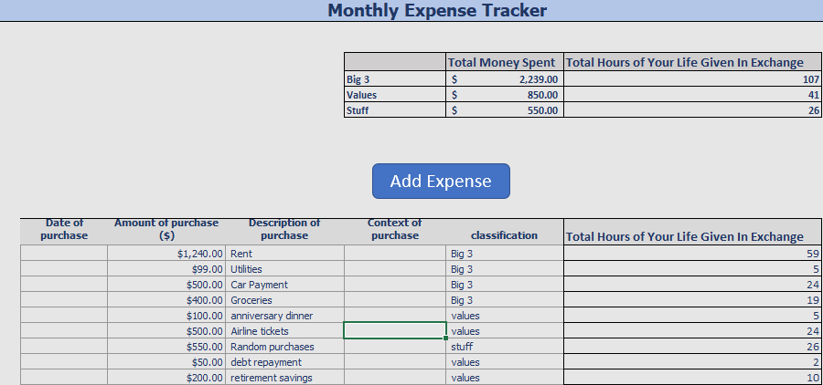 A free excel expense tracker.