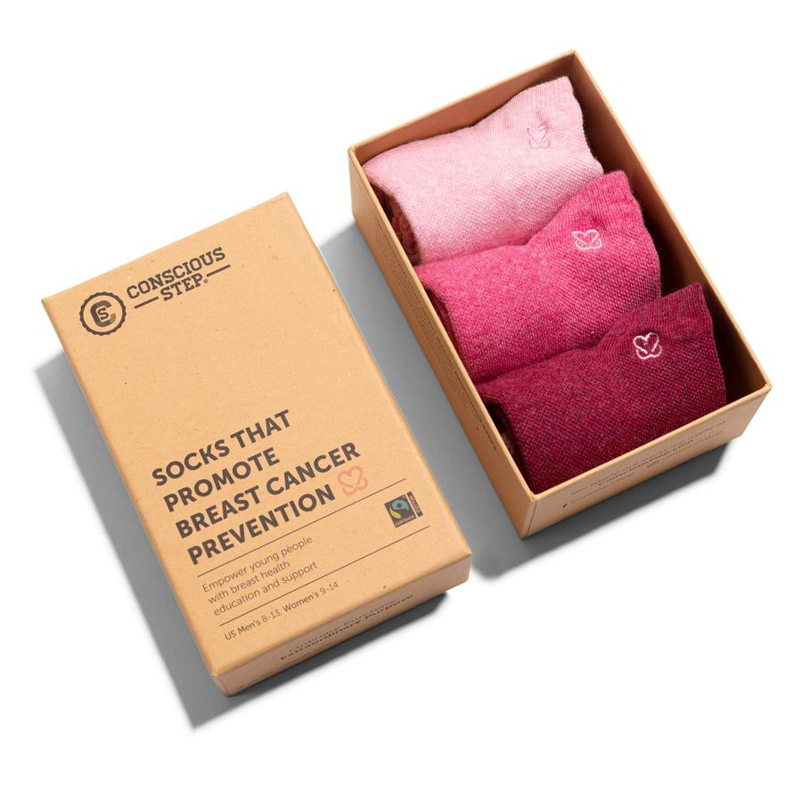 Conscious Step 3-pack of ankle socks: burgundy, pink and light pink socks with extra arch support and padding for comfort, and an embroidered heart to spread the love.