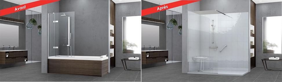 Provence salle de bain, remplacement de baignoire par douche sécurisée