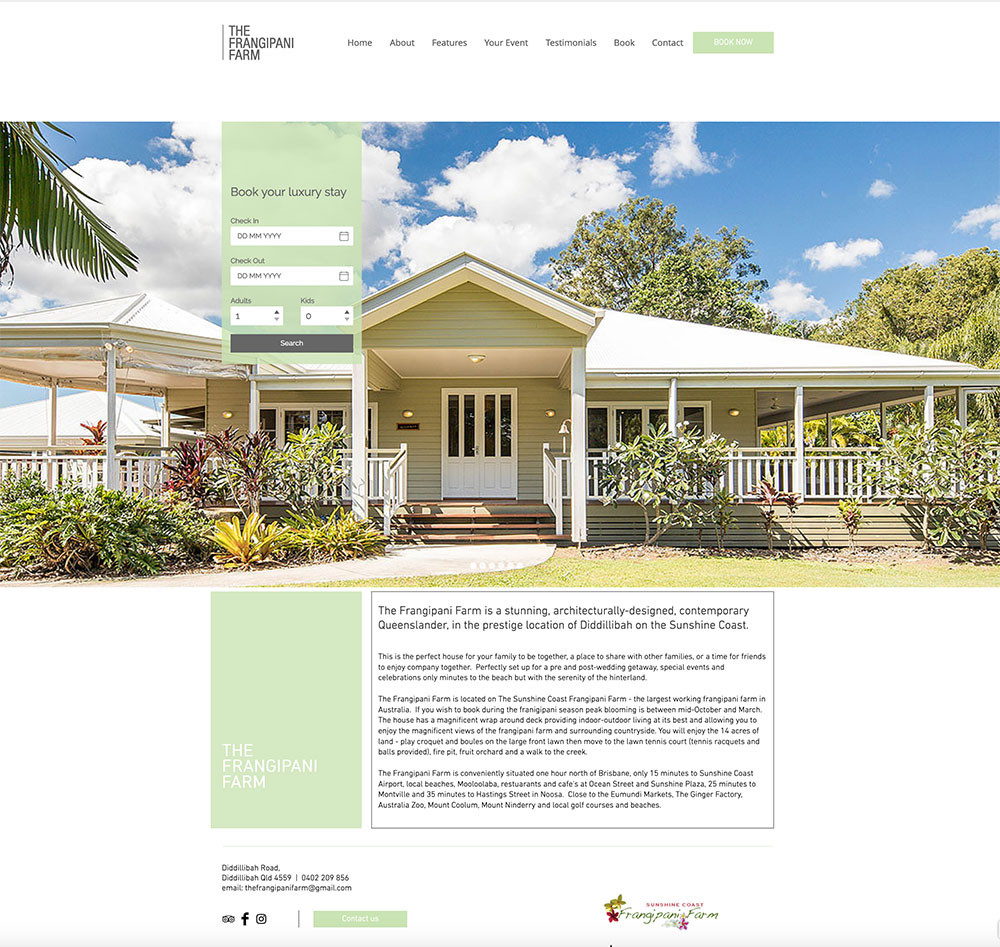 The Frangipani Farm Luxury Accommodation.
