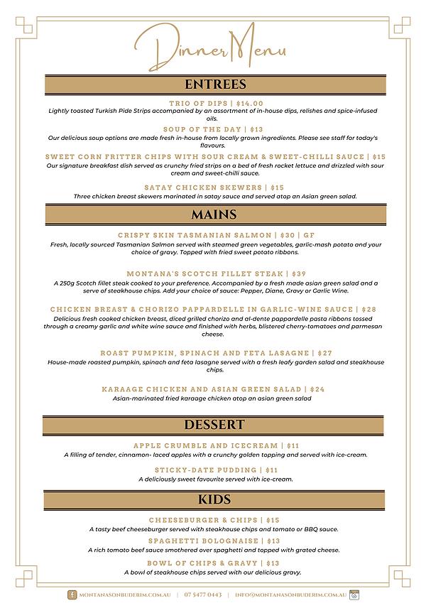 montanas dinner menu