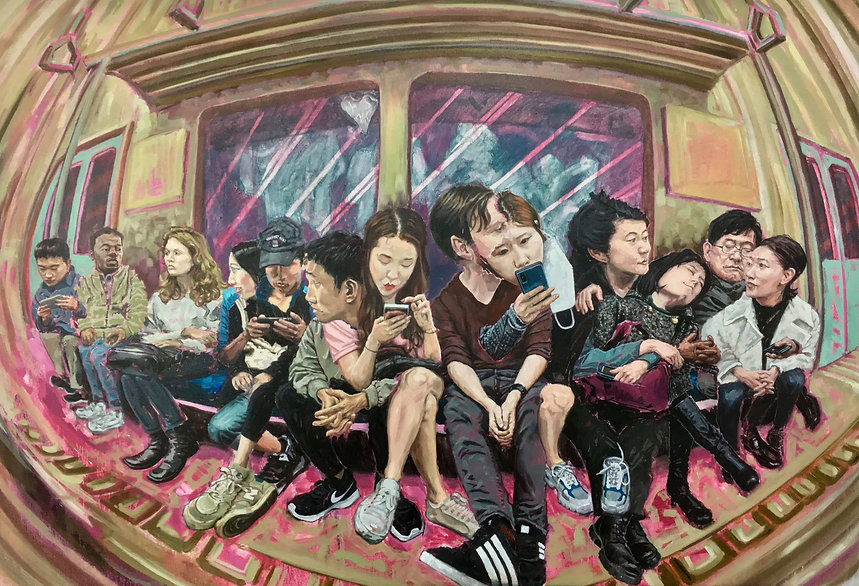 Sharing Seats 자리를 공유하기, 81x117cm, Oil on