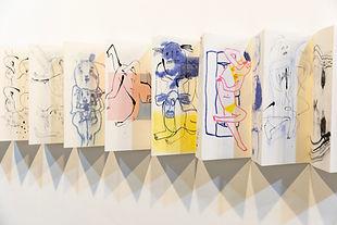김펄 , free drawing ,2020, 한지에 혼합재료, 17x35