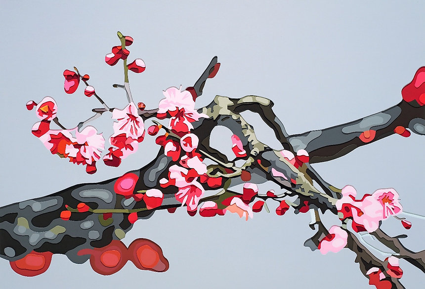 선미_홍매화Ⅲ_77_x52.5cm_acrylic on hardboard_