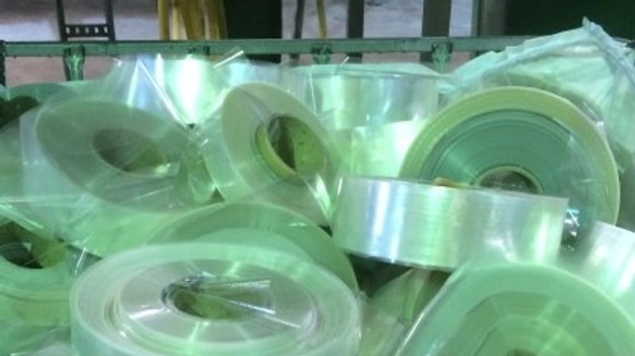 """RR3832L 40,000 lbs PET clear film on 12"""" rolls with silicon coating."""