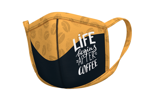 Life begins after coffee- yellow  - masks for professionals
