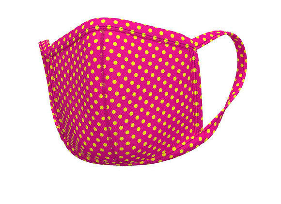 Polka Face mask -with matching ear loops