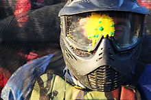 Guy enjoying a paintball bachelor party in Thessaloniki .
