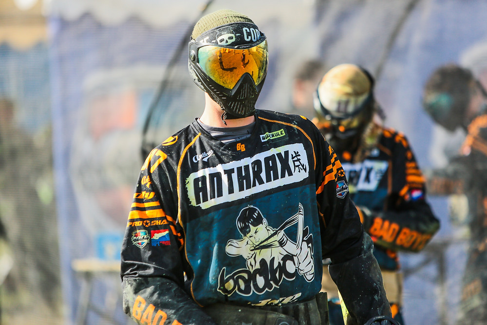Player wearing an Anthrax custom paintball jersey.