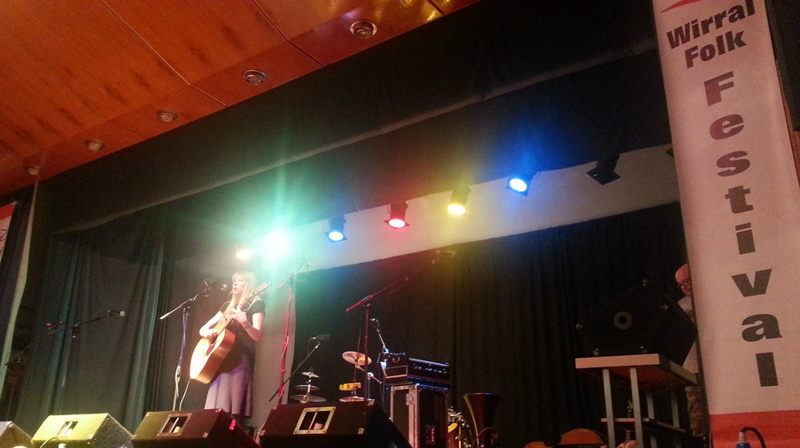 Onstage at the Wirral Folk Festival