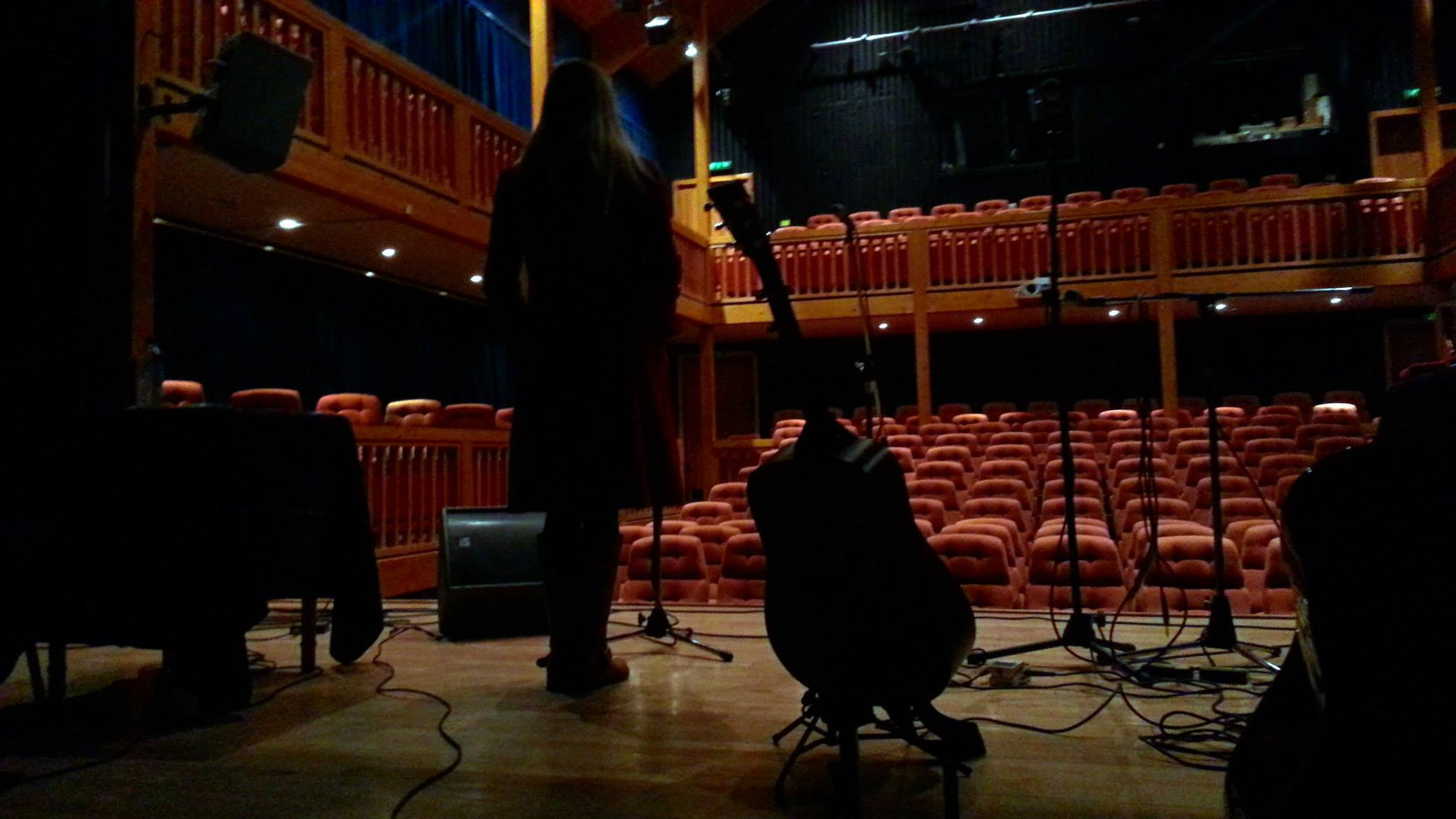 Setting up pre-gig at Aros, Isle of Skye
