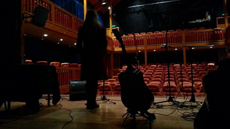Setting up pre-gig at Aros, Isle of Skye