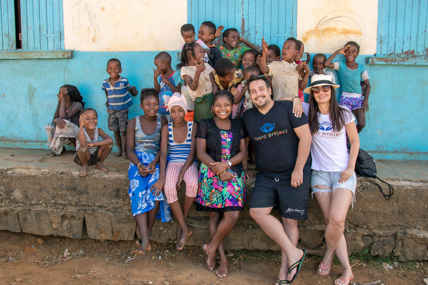 Us with the children in front of the school