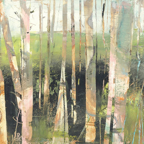 Birches Print on Canvas by Lesley Birch