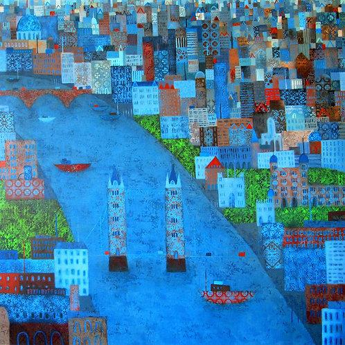 Patchwork City Print by Emma Brownjohn
