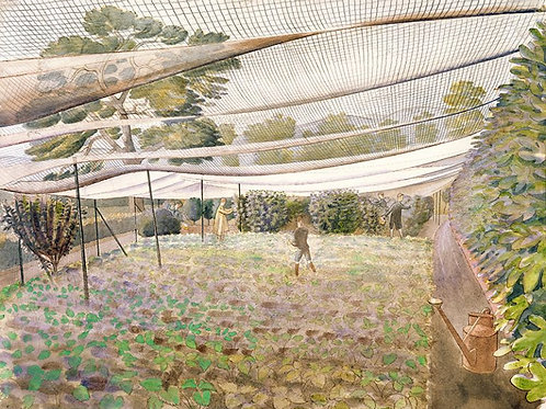 Strawberry Nets Art Print by Ravilious