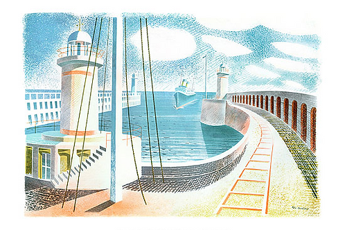 Newhaven Harbour Limited Edition Print by Eric Ravilious
