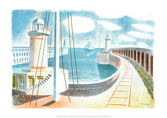 Newhaven Harbour Print, Sussex by artist Eric Ravilious
