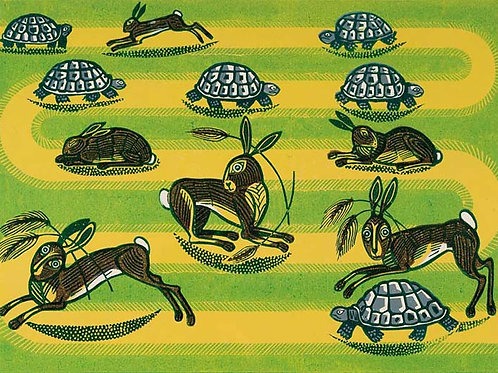 Hare and Tortoise Art Print by Edward Bawden