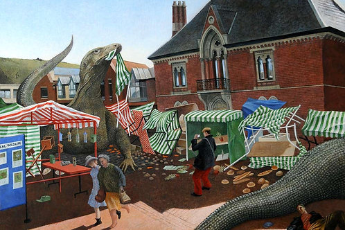 Panic at the Farmers' Market Print by Peter Messer