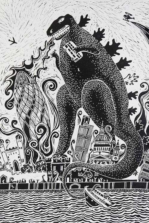 Bad Day In Zone One Linocut Print by Laina Watt
