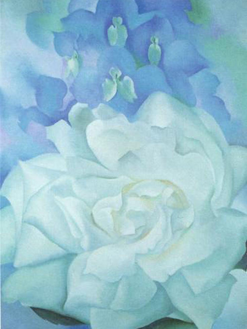 White Rose With Larkspur No. 2, 1927 Print by Georgia O'Keeffe