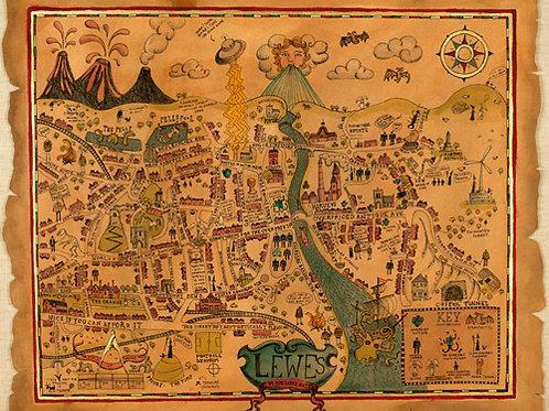 Lewes Map Print