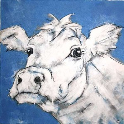 Blue Cow II Canvas by Nicola King