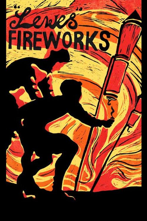 Lewes For Fireworks Teatowel by Laina Watt