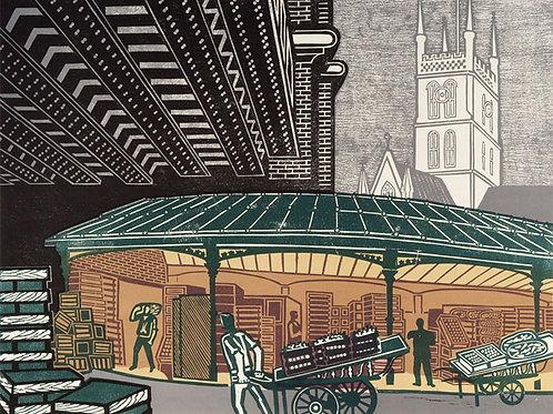 Borough Market Linocut by Edward Bawden