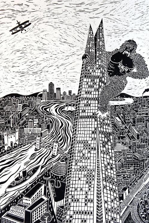 The Shard Linocut Print by Laina Watt