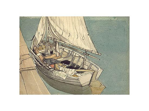 The Punt Art Print by Rowland Hilder